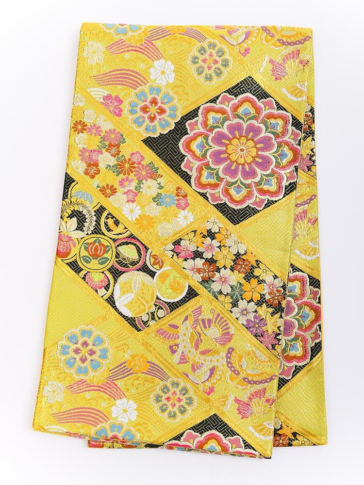 【高級振袖帯レンタル】obi-25-525 西陣織・黄色 サイズ 吉祥文様