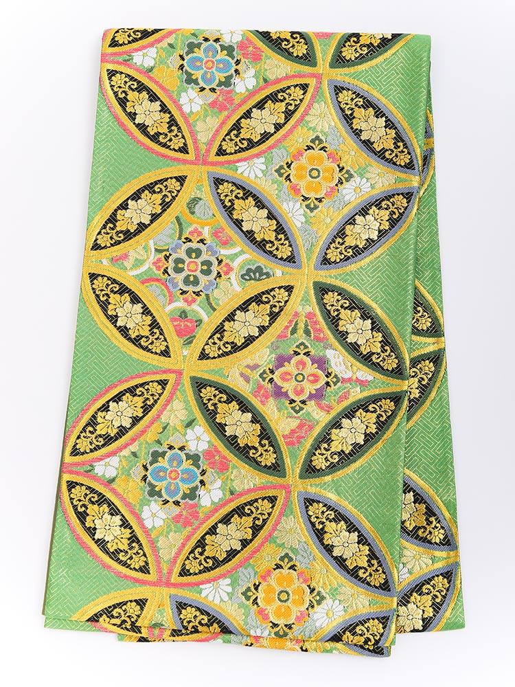 【高級振袖帯レンタル】obi-25-526 西陣織・緑色 サイズ 七宝文様