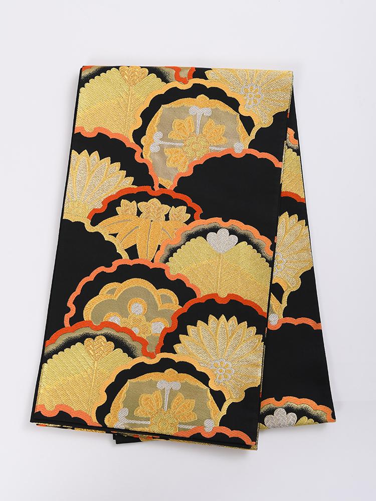 【高級振袖帯レンタル】obi-25-531 西陣織・黒金の松竹梅 サイズ 雪輪に松竹梅