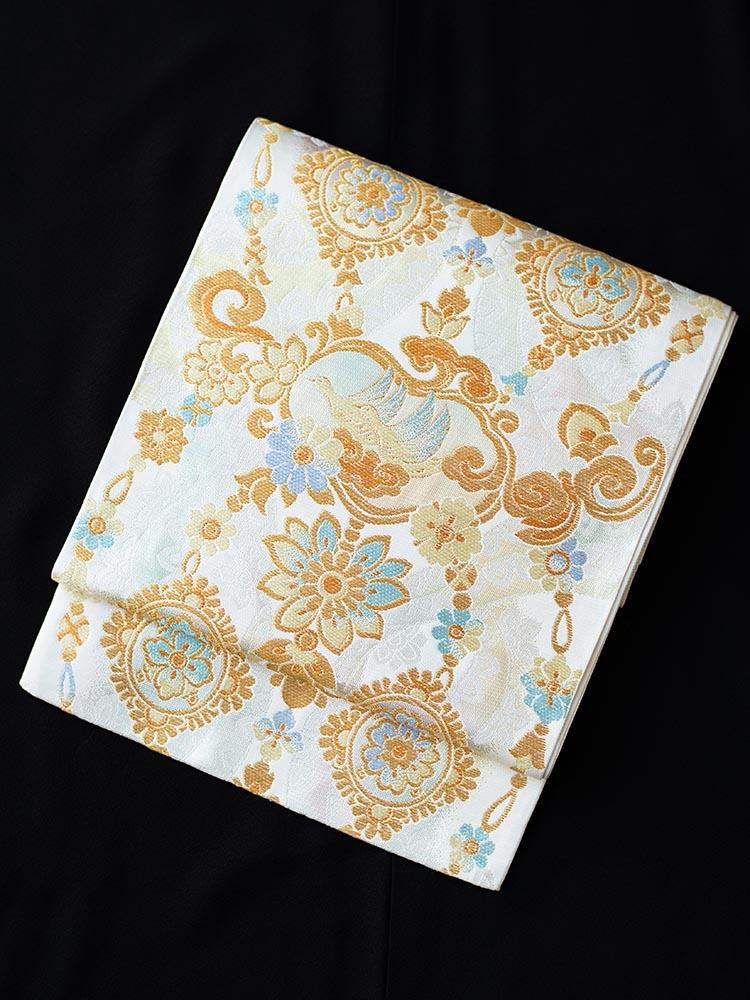 【最高級の西陣織袋帯レンタル】obi-25-5 厳選逸品 鳳凰 ブルーが綺麗な帯