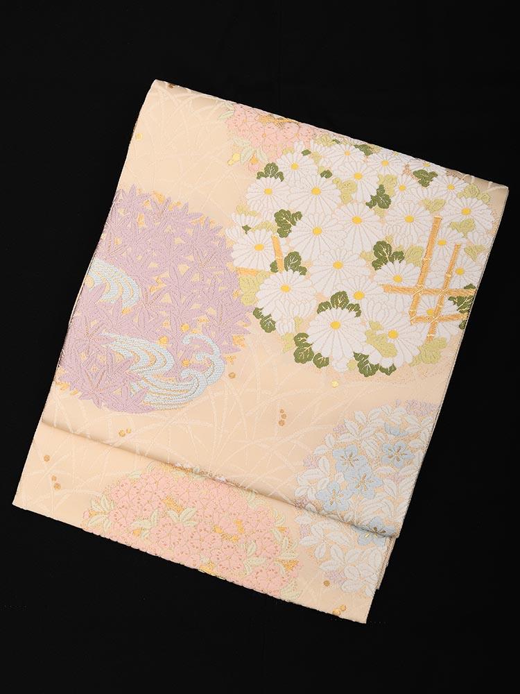 【高級帯レンタル】obi-26-285 四季の花 サイズ 四季の花