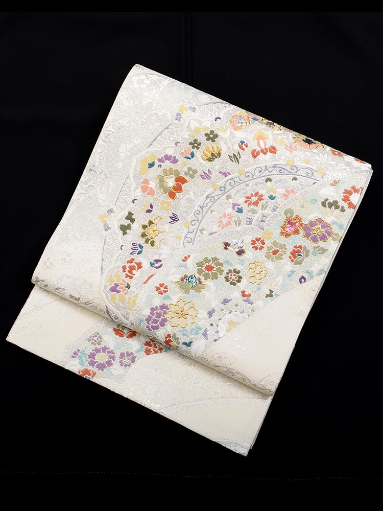 【高級帯レンタル】obi-26-291 高級螺鈿 白地に花々 サイズ 小花