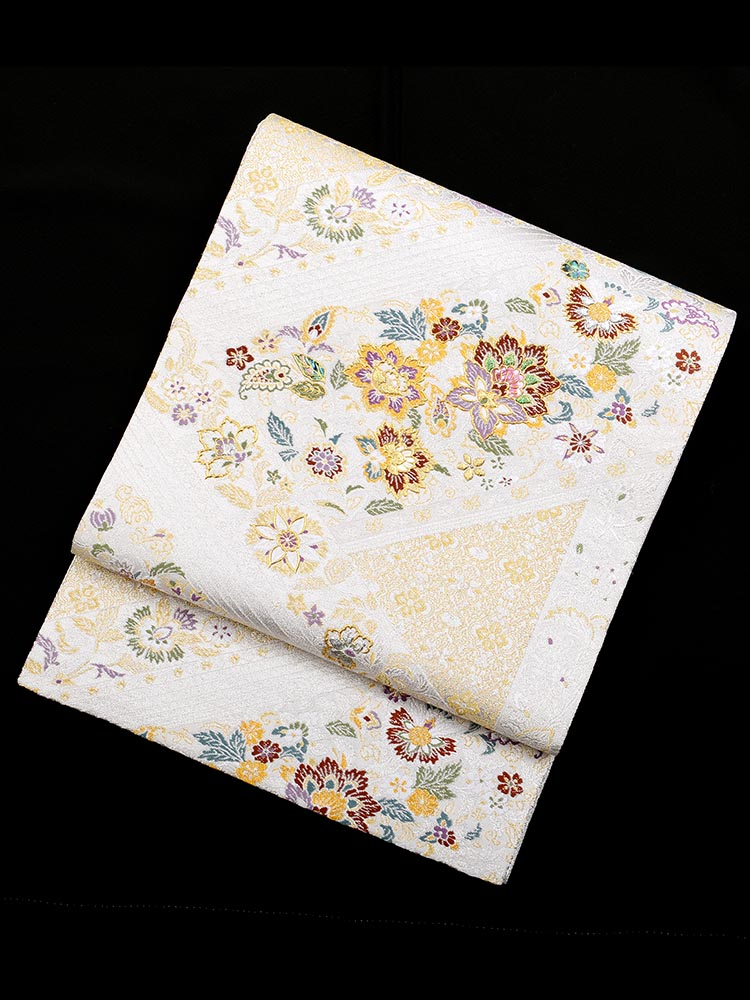 【高級帯レンタル】obi-26-292 高級螺鈿 黄色 花 サイズ 小花