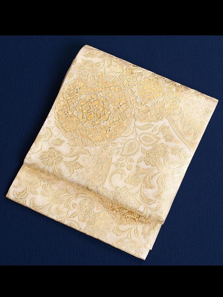 【高級帯レンタル】obi-26-300 チャペル・アトリウム ゴールド サイズ 宝相華
