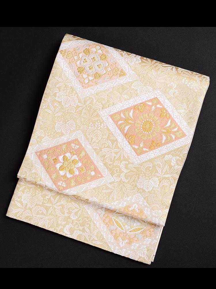 【高級帯レンタル】obi-26-301 高島織物謹製 有職菱に桐 サイズ 菱に桐