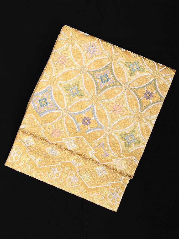 【高級帯レンタル】obi-26-304 高島織物謹製 七宝繋ぎ 金 サイズ 七宝繋ぎ