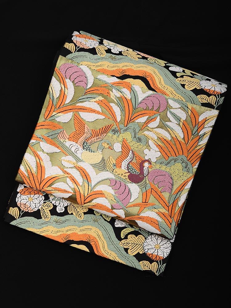 【高級帯レンタル】obi-27-321 山口美術織物 黒地 サイズ 水鳥