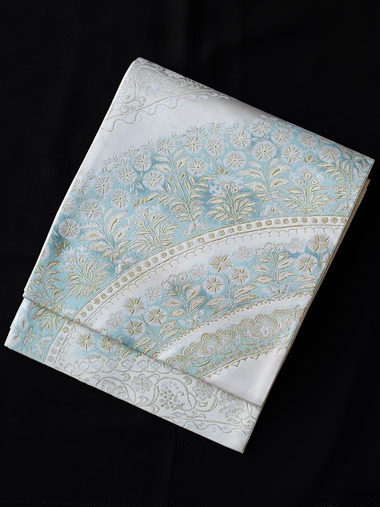 【高級帯レンタル】obi-27-322 洛陽 アラベスク文様 水色 サイズ アラベスク
