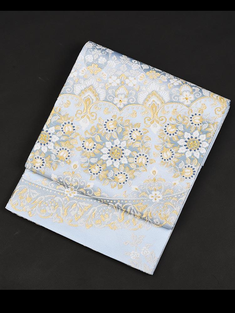 【高級帯レンタル】obi-27-334 洛陽織物謹製 チャペルビジュー 水色 サイズ 唐草