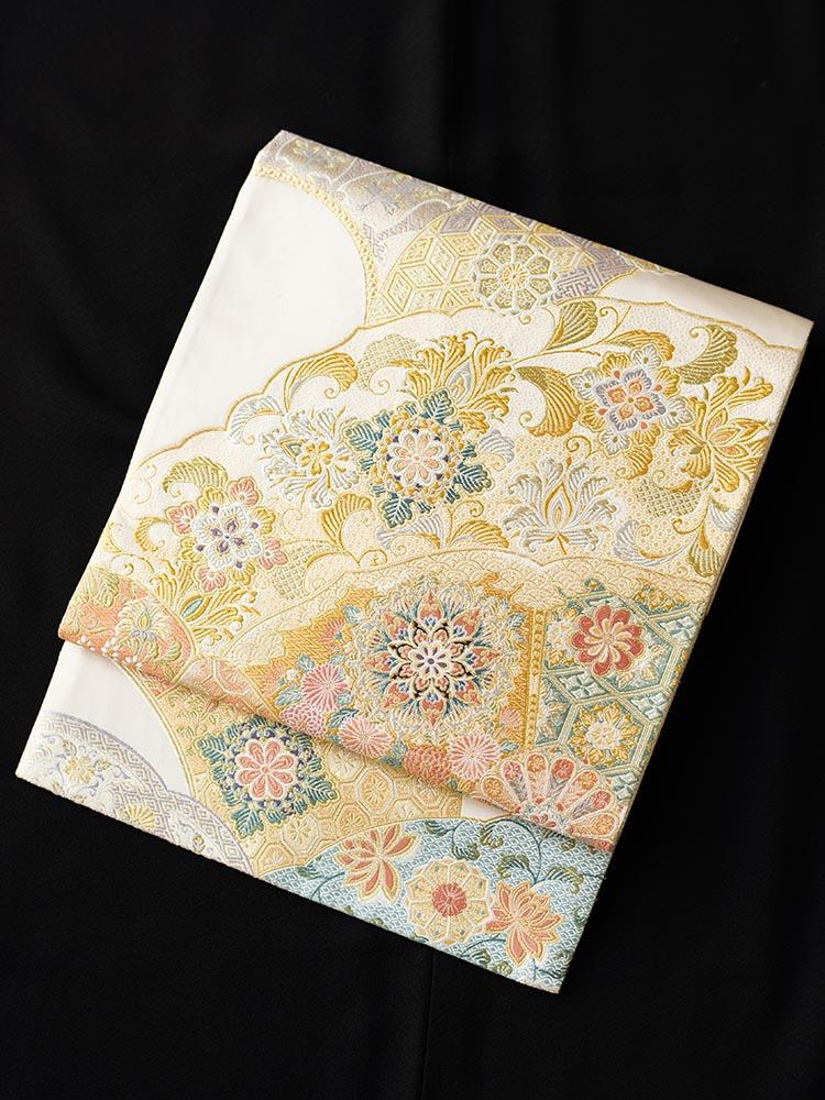 【高級帯レンタル】obi-28-318 とみや織物 パステル系  華文