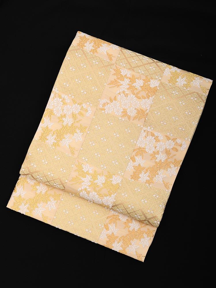 【高級帯レンタル】obi-28-320 山口美術織物 市松柄 金