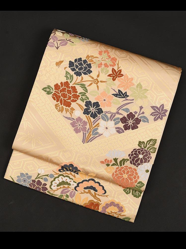【高級帯レンタル】obi-29-131 西陣織 四季の花 サイズ 四季の花