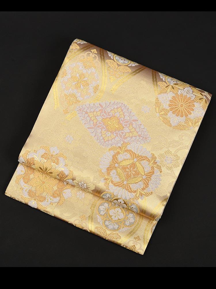 【高級帯レンタル】obi-29-136 西陣織 有職文様 ゴールド・ピンク 菱 サイズ 有職文様