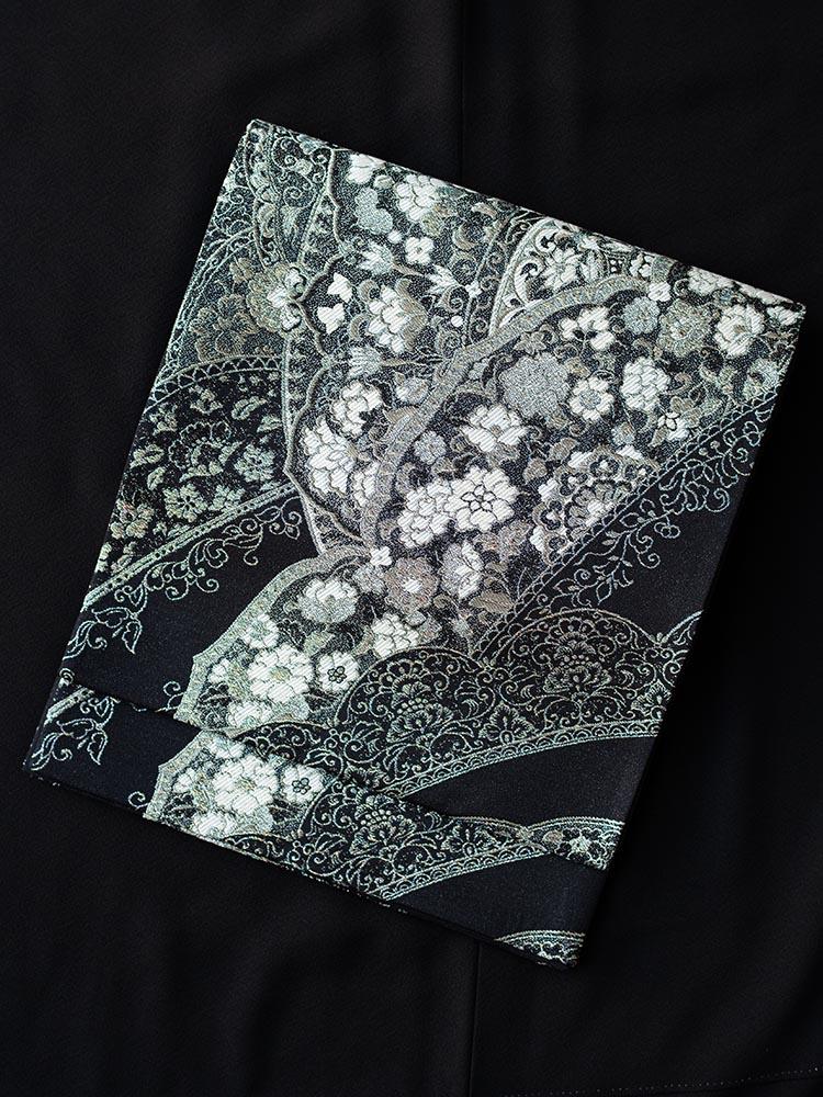 【高級帯レンタル】obi-29-331 黒地 華文と小花 サイズ 華文