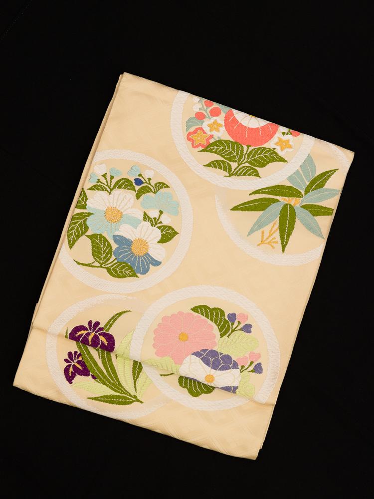 【高級帯レンタル】obi-340 高級袋帯レンタル「四季花丸文」