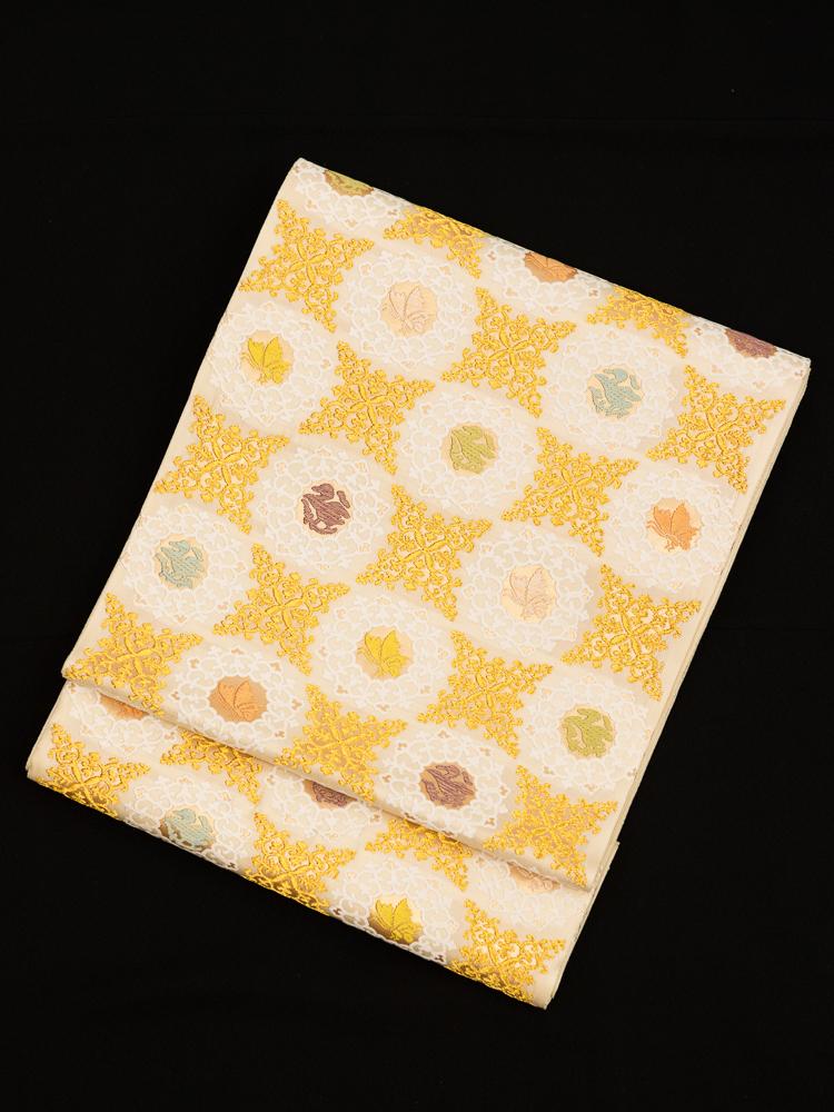 【高級帯レンタル】obi-343 高級袋帯レンタル「古代花鳥文・山口美術織物」