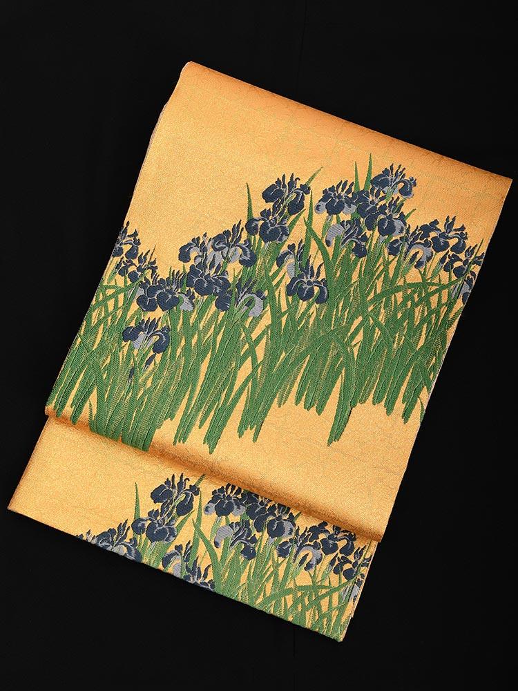【西陣織の高級袋帯レンタル】tokusenobi-24-1 小森織物謹製 菖蒲の柄