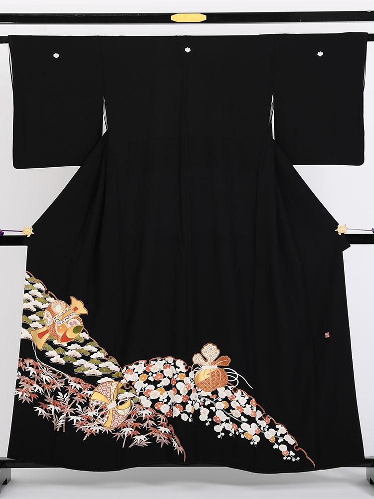 【高級黒留袖レンタル】1700 京友禅競技会受賞柄・打ち出の小槌 Sサイズ 打ち出の小槌