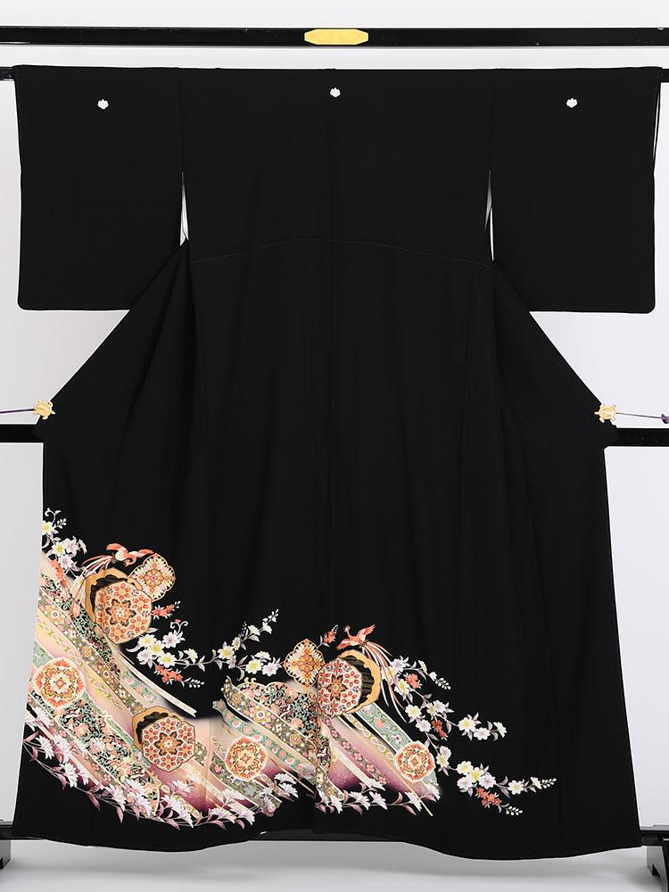 【高級黒留袖レンタル】1706-b 京友禅競技大会受賞柄・蔓帯・小花 MSサイズ 鼓・鳳凰・小花