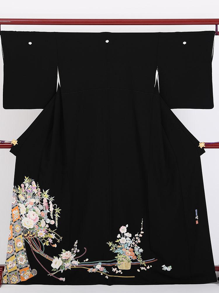 【高級黒留袖レンタル】kaga-302 本加賀友禅「花かご・花車」 Mサイズ 花かご・花車