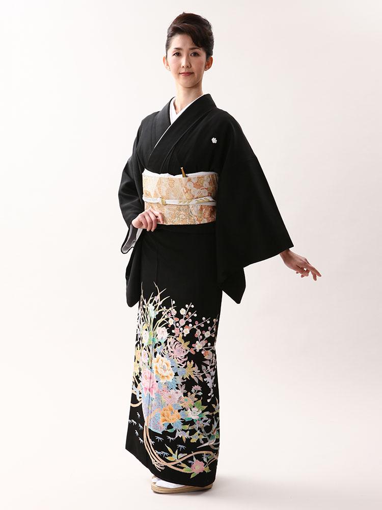 【高級黒留袖レンタル】kaga-430 本加賀友禅「花かご」 MLサイズ 花かご