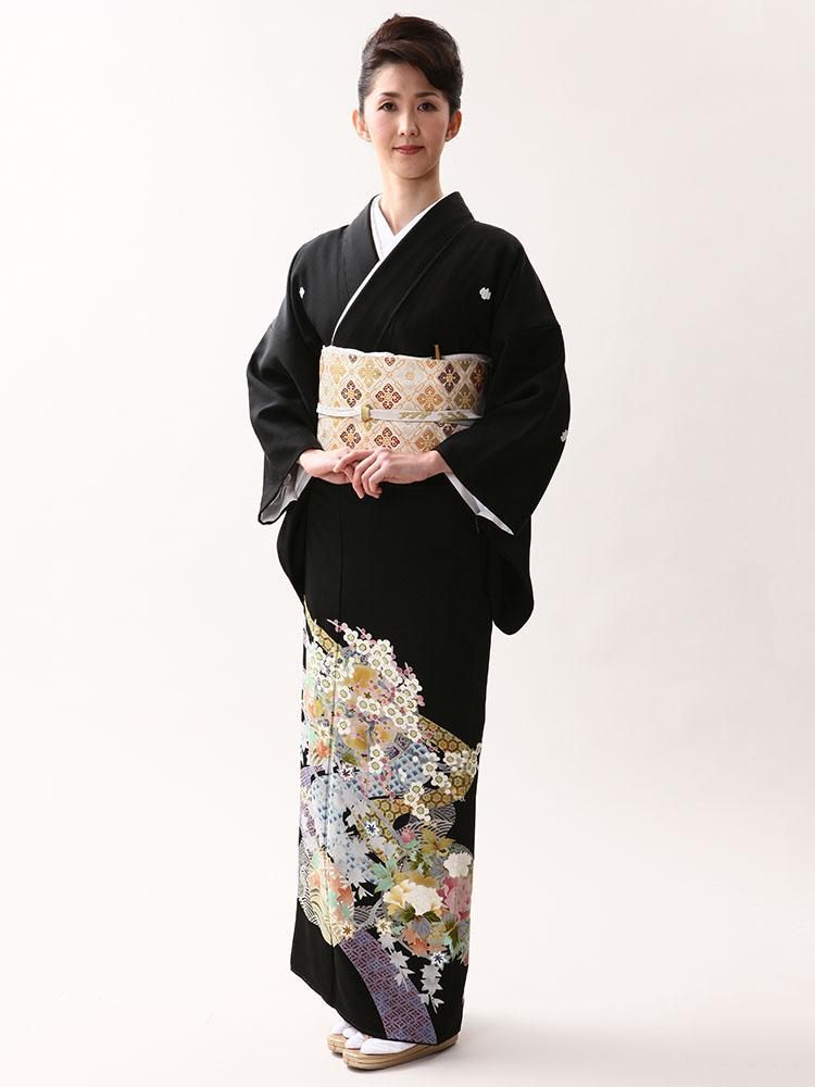 【高級黒留袖レンタル】kaga-431 本加賀友禅「丸に四季の花」 MLサイズ 四季の花