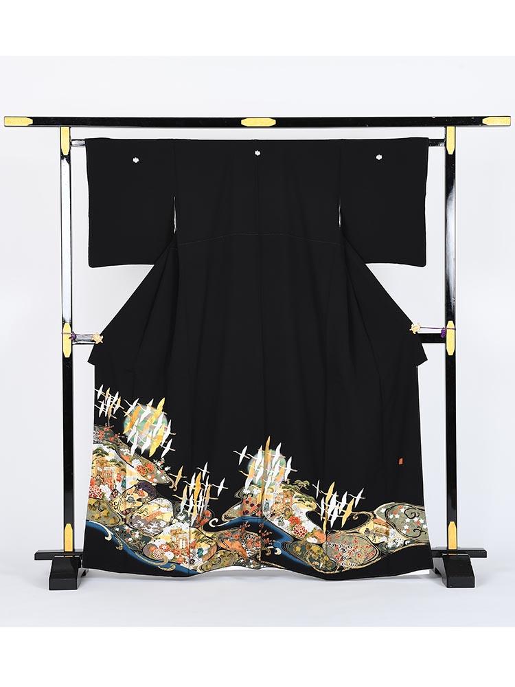 【高級黒留袖レンタル】kansai-6 山本寛斎ブランド・光林水 Sサイズ 鶴・光林水