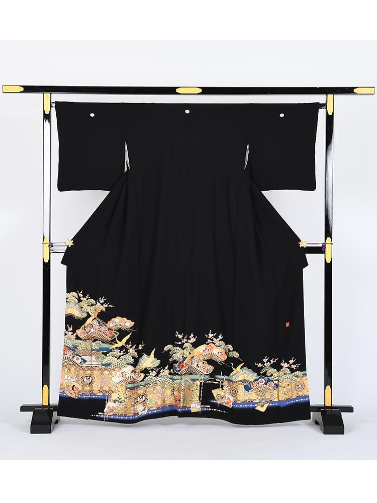 【高級黒留袖レンタル】kansai-8 山本寛斎ブランド・松竹梅 Mサイズ 松竹梅