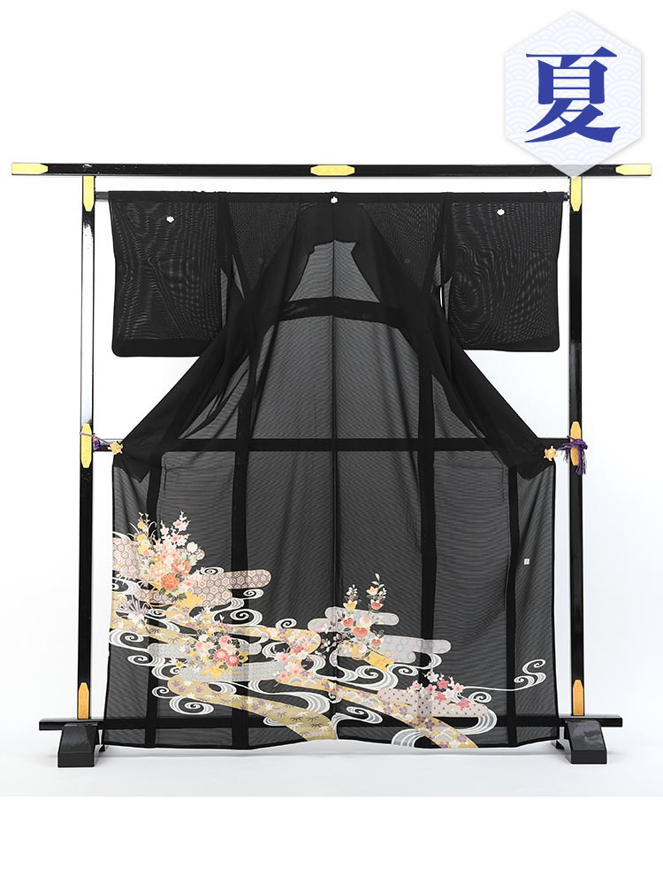 【高級黒留袖レンタル】rt-10 夏の絽黒留袖レンタルシリーズ・流水 LLサイズ 流水