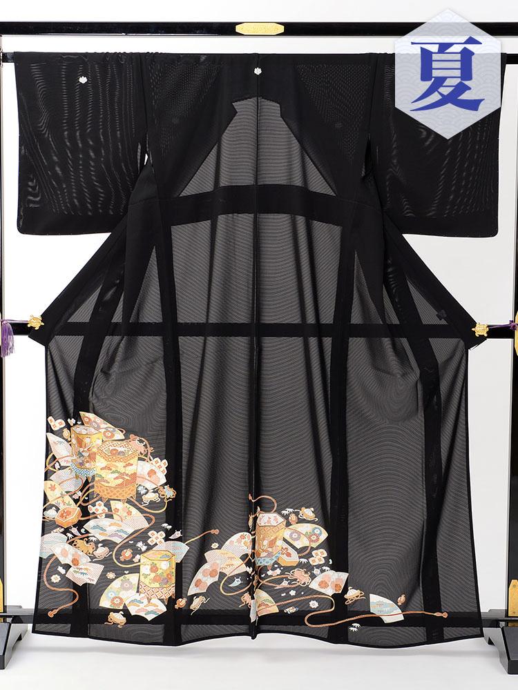 【高級黒留袖レンタル】rt-11 夏の絽黒留袖レンタルシリーズ・貝桶 Mサイズ 貝桶