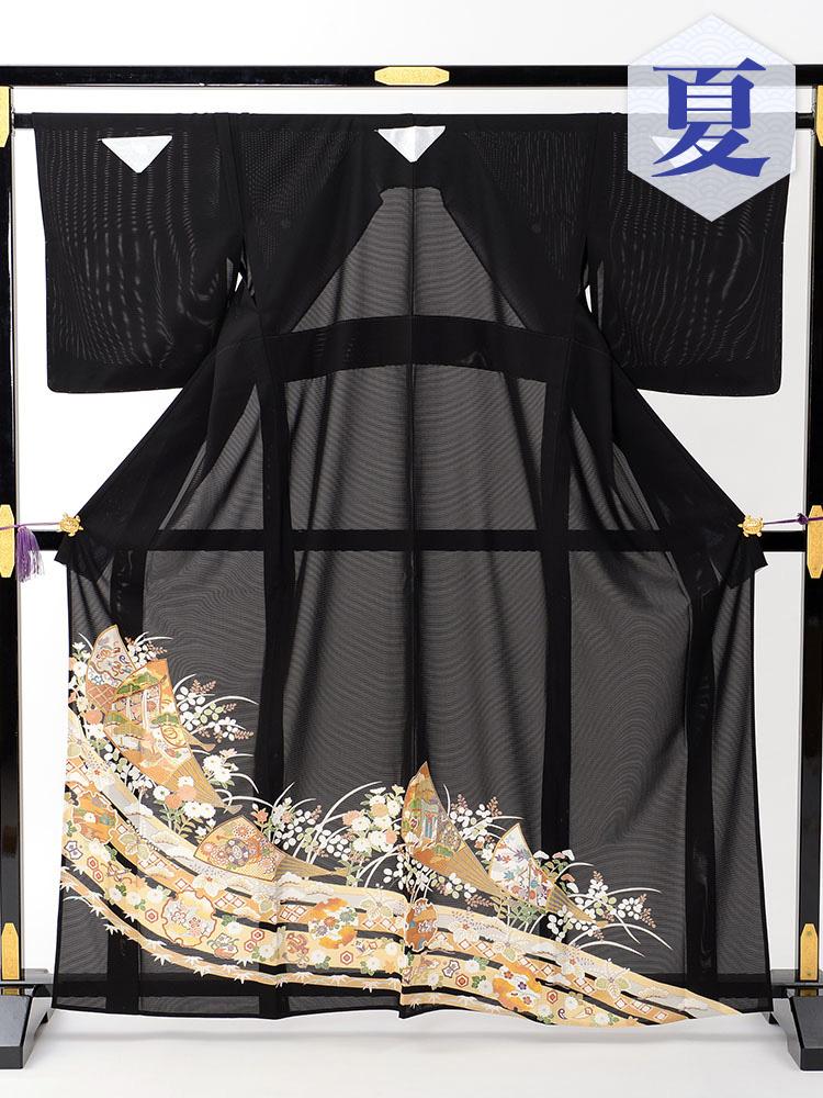 【高級黒留袖レンタル】rt-13 夏の絽黒留袖レンタルシリーズ・中啓文 Mサイズ 宝尽くし・中啓文