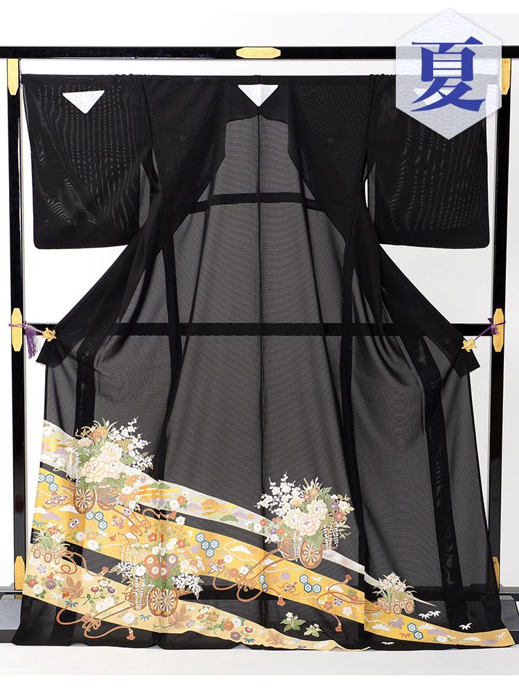 【高級黒留袖レンタル】rt-14 夏の絽黒留袖レンタルシリーズ・花車 LLサイズ 花車