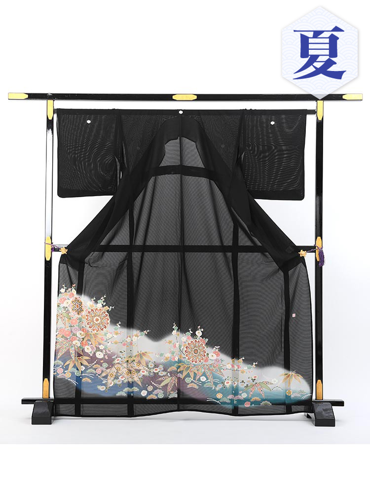 【高級黒留袖レンタル】rt-4 夏の絽黒留袖レンタルシリーズ・幅広サイズ・松竹梅 MOサイズ 松竹梅