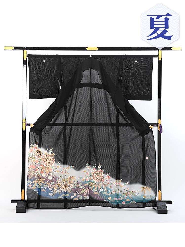 【夏物・大きいサイズ高級黒留袖レンタル】rt-4 夏の絽黒留袖レンタルシリーズ・幅広サイズ・松竹梅 MOサイズ