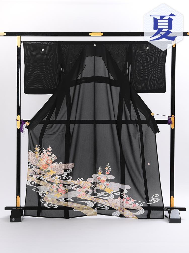 【高級黒留袖レンタル】rt-5 夏の絽黒留袖レンタルシリーズ・流水 MLサイズ 流水