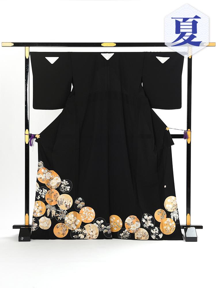 【高級黒留袖レンタル】t-105h 単衣の黒留袖シリーズ・団扇・琳派 Mサイズ (5月~10月前後に利用する留袖)