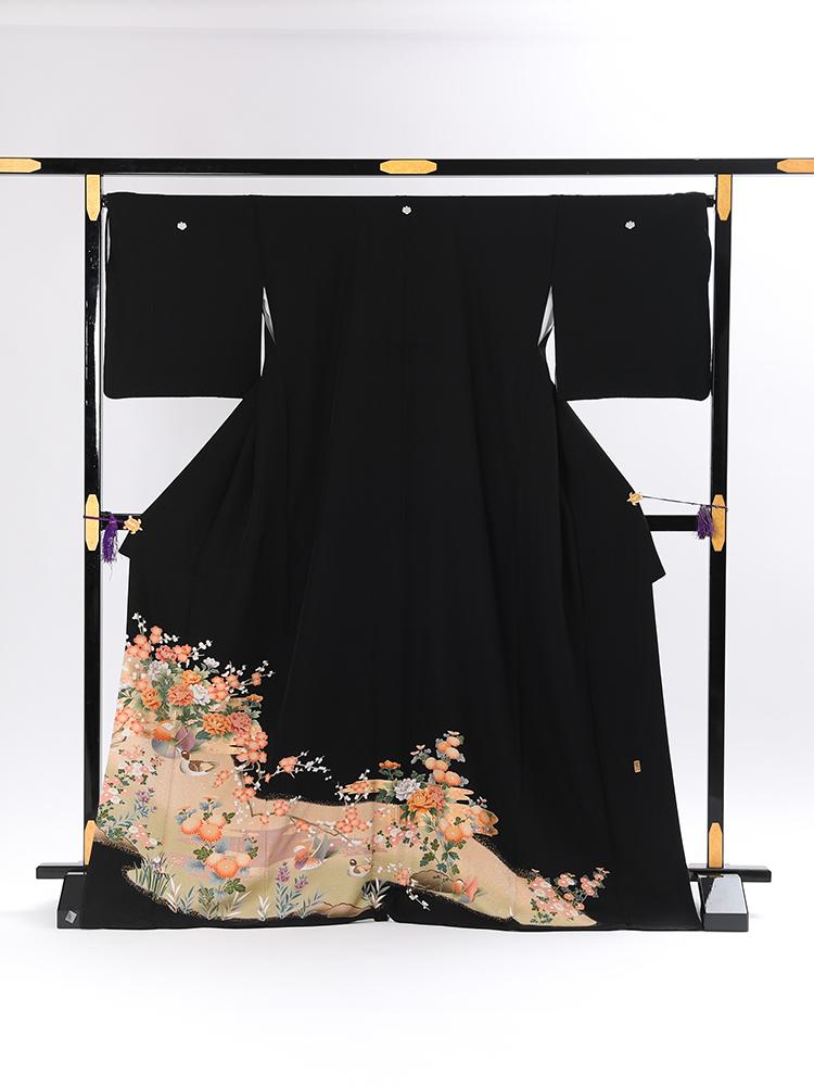 【高級黒留袖レンタル】t-108 オシドリと牡丹 LLサイズ 鴛鴦・牡丹