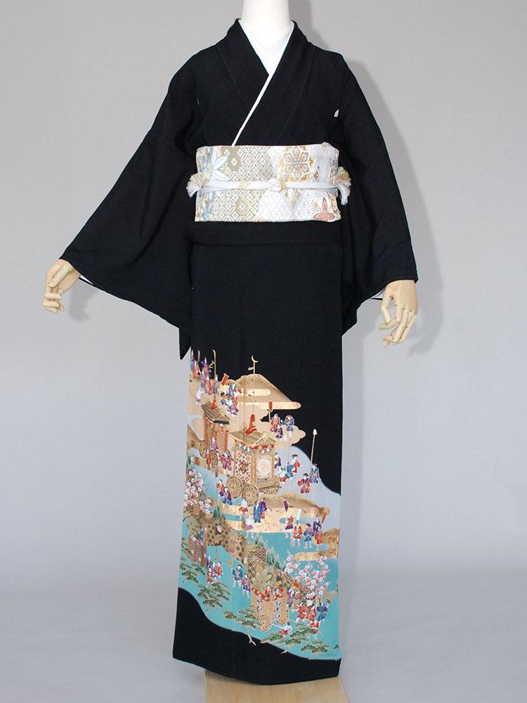 【高級黒留袖レンタル】t-110 祇園祭 LLサイズ 祇園祭の山鉾巡行