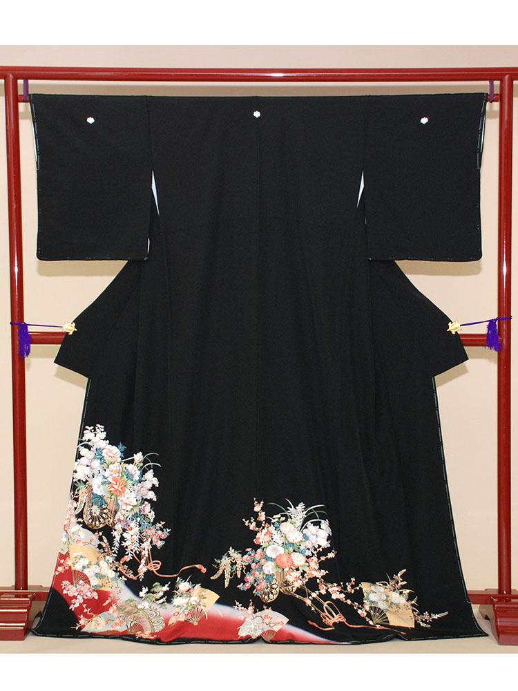 【高級黒留袖レンタル】t-201 エンジの花車 MLサイズ 花車