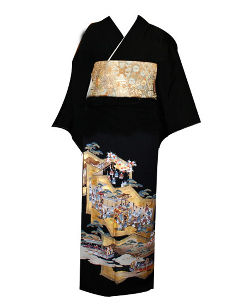 【高級黒留袖レンタル】t-202 屏風物語 MLサイズ 屏風に物語