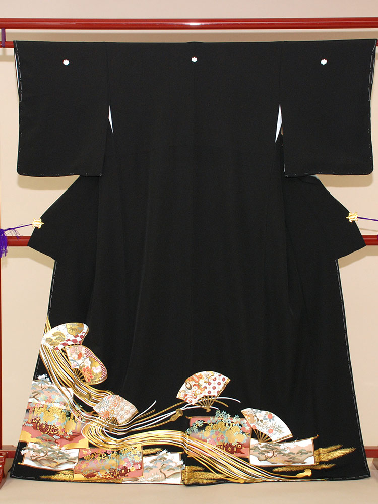 【高級黒留袖レンタル】t-203 扇子に組紐 MSサイズ 扇子・組紐