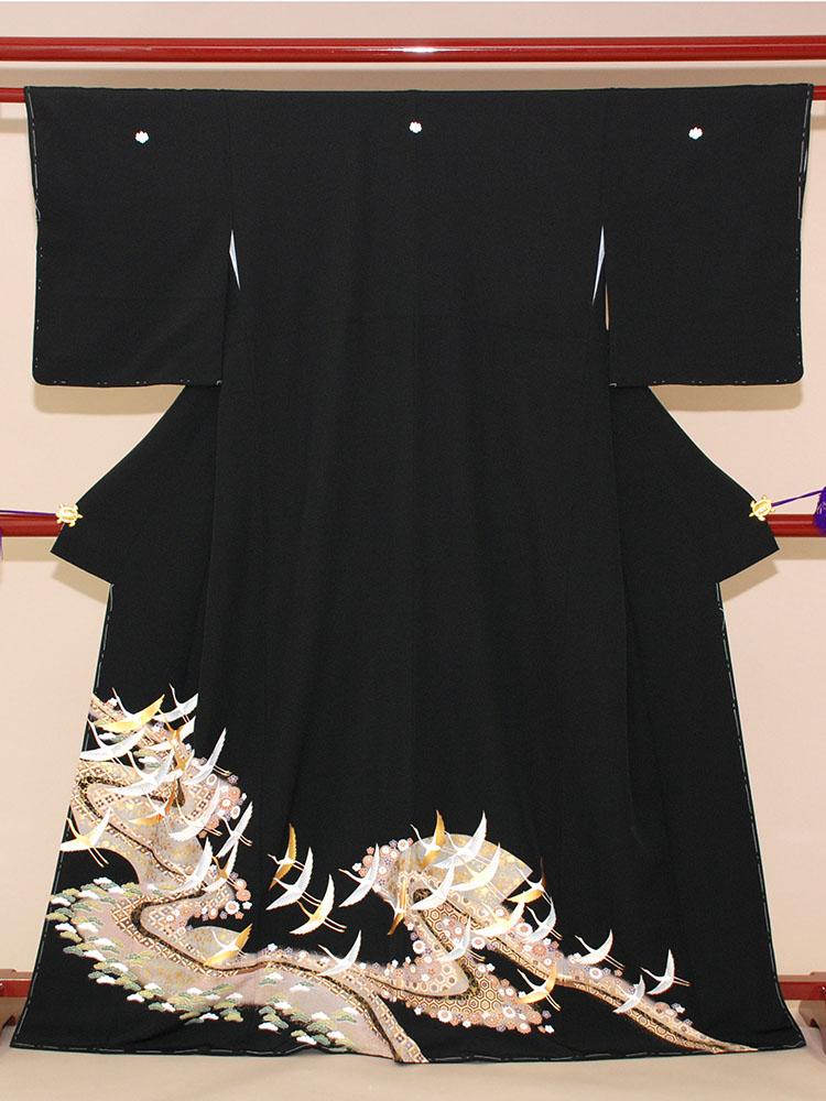 【高級黒留袖レンタル】t-204 よくある鶴の柄 MSサイズ 飛鶴