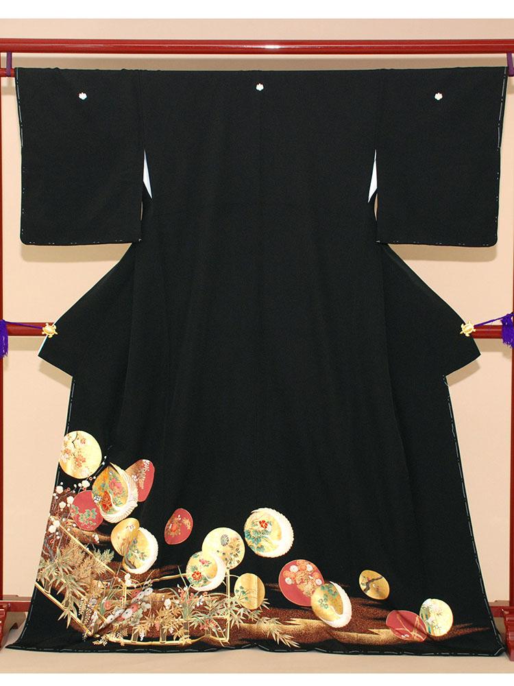 【高級黒留袖レンタル】t-207 丸に四季の花 MLサイズ 丸に花々