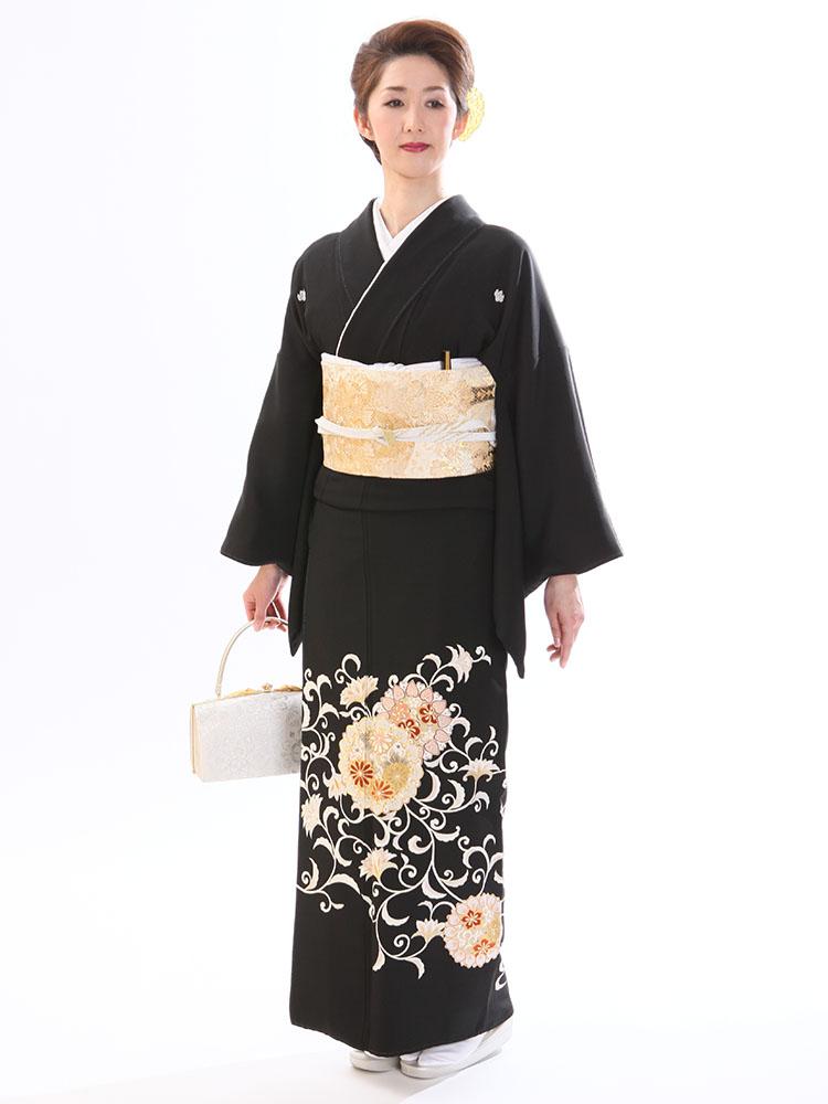 【高級黒留袖レンタル】t-209 唐花に花文 MLサイズ 唐花