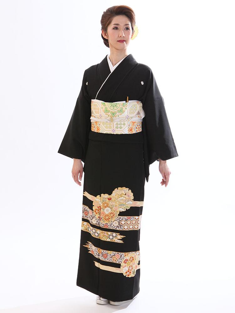 【高級黒留袖レンタル】t-210 雪輪に金駒刺繍 MLサイズ 雪輪