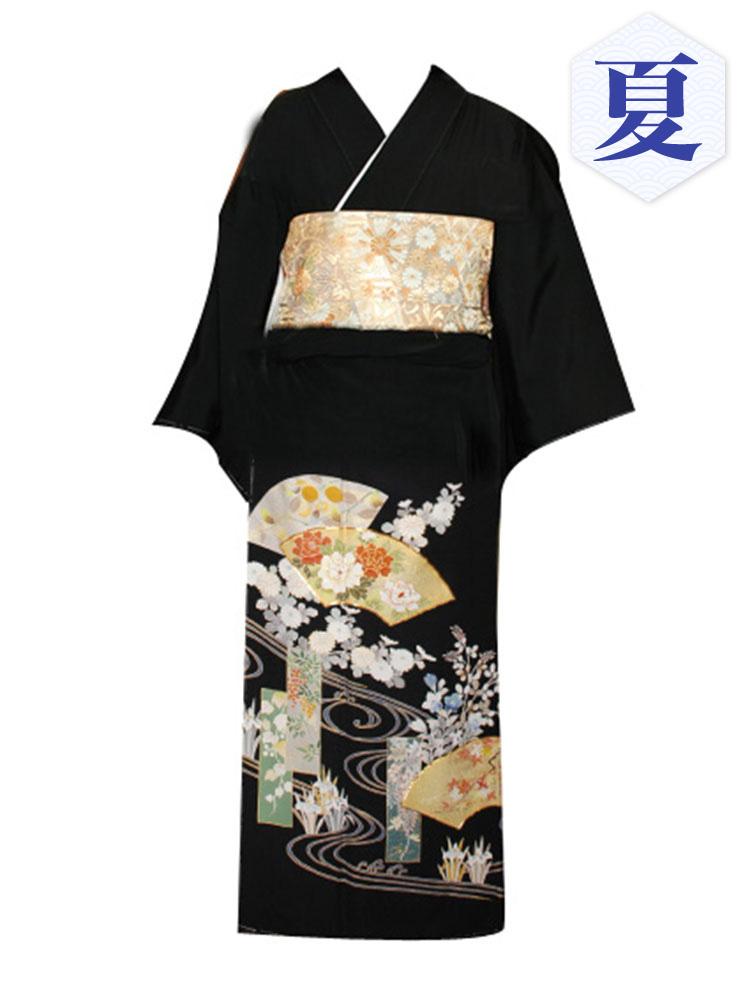 【高級黒留袖レンタル】t-211 単衣の黒留袖シリーズ・地紙に短冊 MLサイズ  (5月~10月前後に利用する留袖)