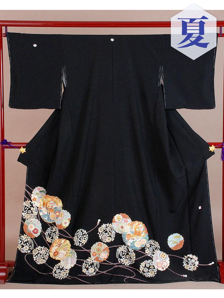【高級黒留袖レンタル】t-212 単衣の黒留袖シリーズ・雪輪と鴛鴦 MLサイズ (5月~10月前後に利用する留袖)