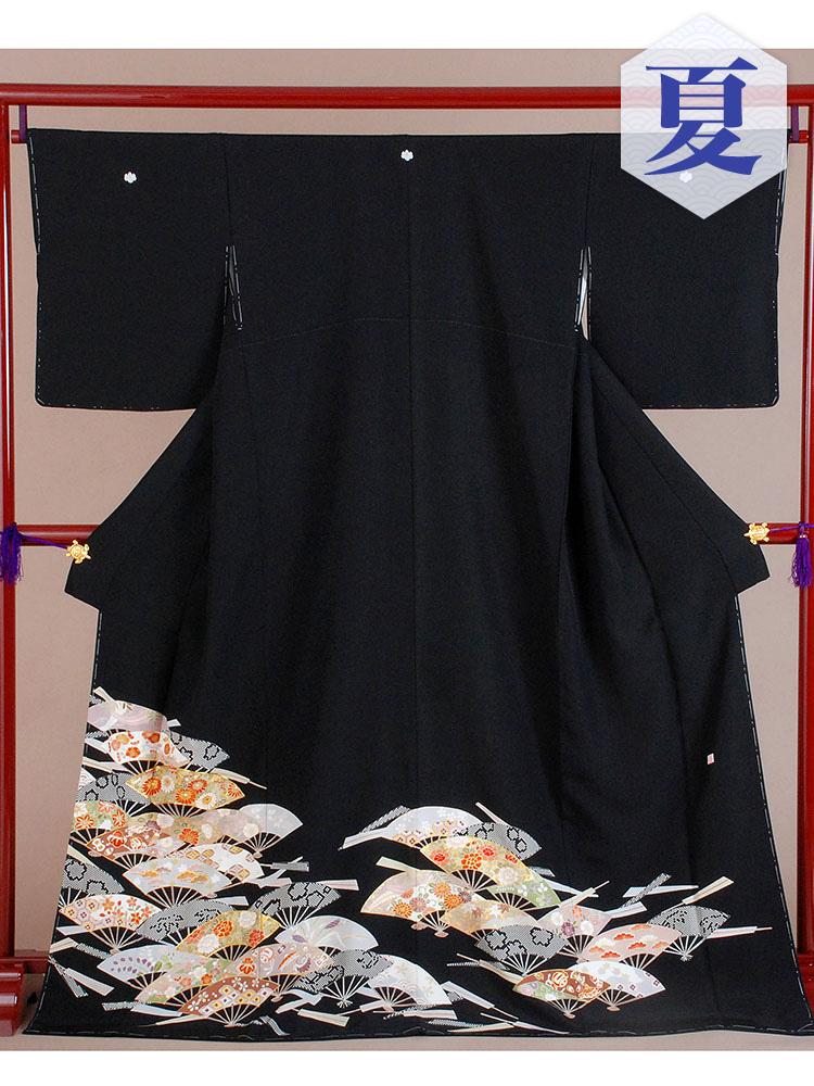【高級黒留袖レンタル】t-213 単衣の黒留袖シリーズ・扇子 MLサイズ  (5月~10月前後に利用する留袖)
