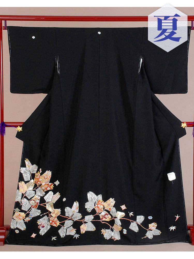 【高級黒留袖レンタル】t-214 単衣の黒留袖シリーズ・松葉 MLサイズ  (5月~10月前後に利用する留袖)