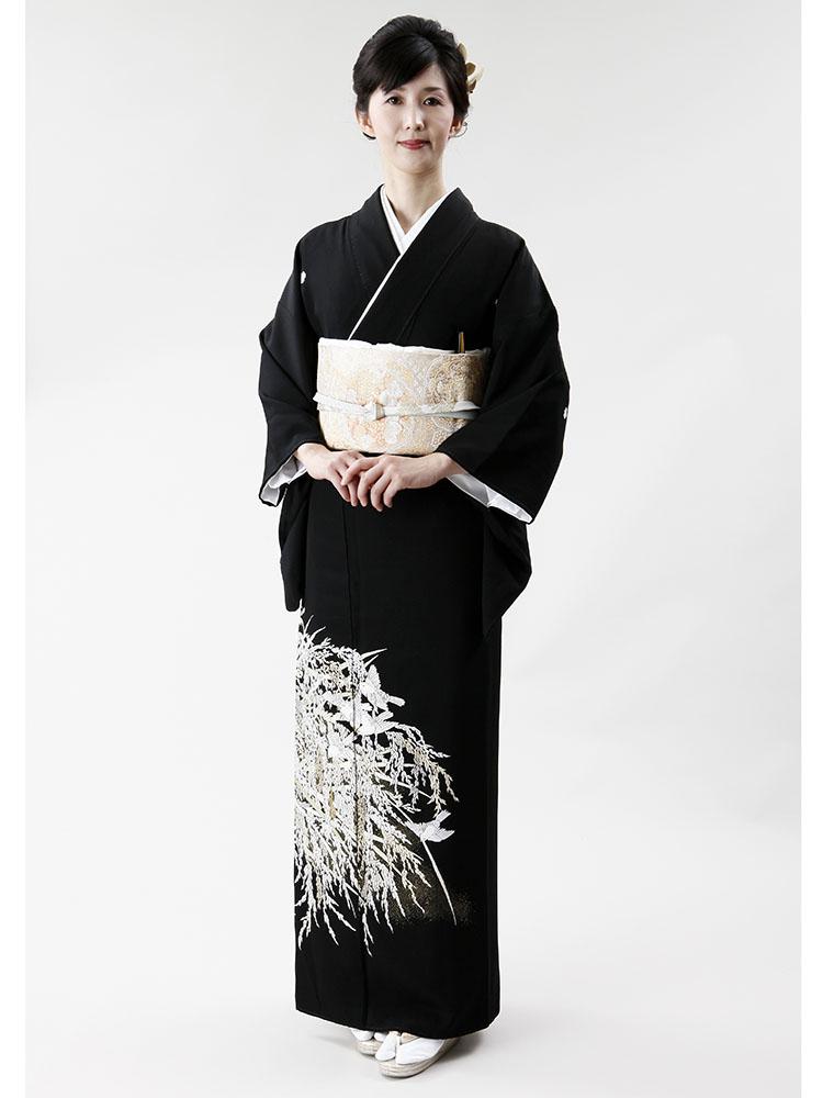 【高級黒留袖レンタル】t-304 山口美術織物謹製・稲穂に雀 Sサイズ 稲穂に雀